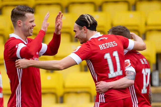 Aberdeen winger Ryan Hedges celebrates his goal four minutes after coming on against Livingston (Photo by Paul Devlin / SNS Group)