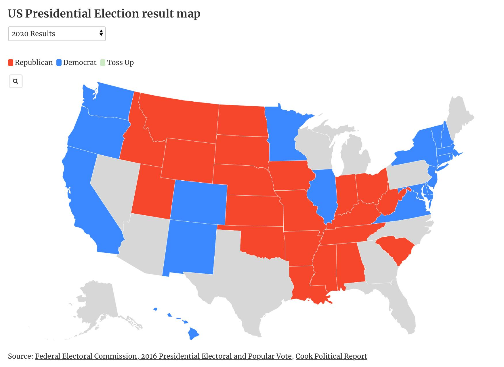 Us Map Showing Election Results How to use our interactive Presidential Election result map | The