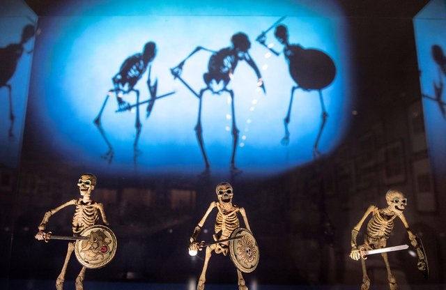 The skeletons used in Jason and the Argonauts are among the star attractions in the new exhibition.