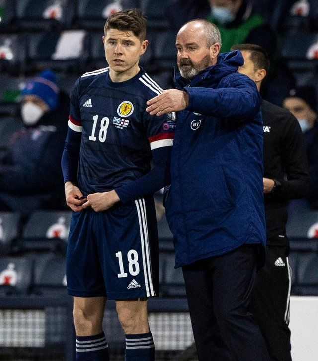 Scotland manager Steve Clarke with Kevin Nisbet during the World Cup qualifier against Faroe Islands at Hampden in March. Photo by Craig Williamson / SNS Group