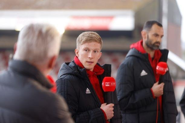 Aberdeen players Ross McCrorie and Joe Lewis on RedTV duty. Pic: Newsline Media.