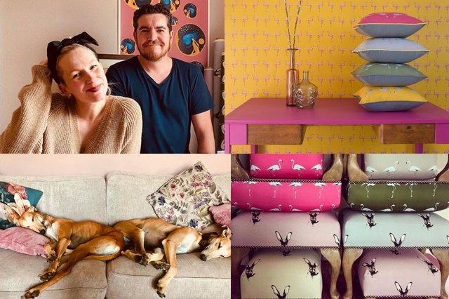 Belle and Darren top left and their two podencos Wall-E and Eva. The other pictures show some examples of the couple's handmade homeware pictures: supplied