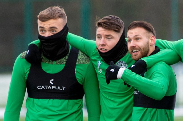 Hibs' Martin Boyle (R),  will be happy if the Easter Road club manage to keep hold of (L-R) Ryan Porteous and Kevin Nisbet. Photo by Ross MacDonald / SNS Group