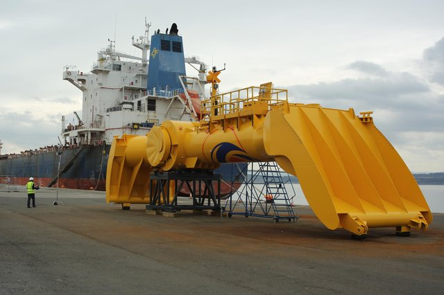 Mocean Energy's Blue X wave machine, which stretches to 20 metres and weighs 38 tonnes, has been fabricated in Scotland.
