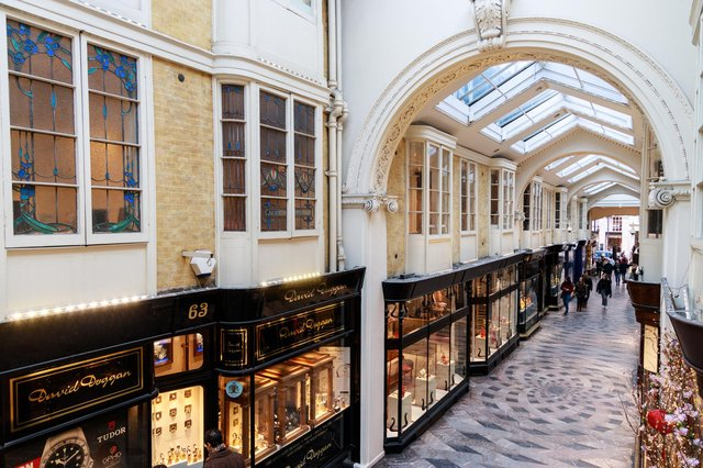 The arcade stretches nearly 200 yards, including a coterie of retailers with Scottish connections. Picture: Ng Wai Hung.