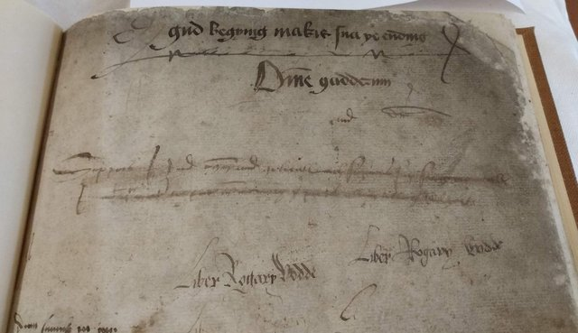 The 16th Century legal notebook where the scribbled opening lines of Sir David Lyndsay's poem was found. PIC: NRS.