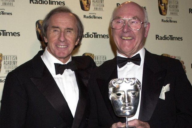 Murray Walker (right) with Sir Jackie Stewart after receiving a special award for his contribution to British Television at the British Academy Television Awards in 2002.
