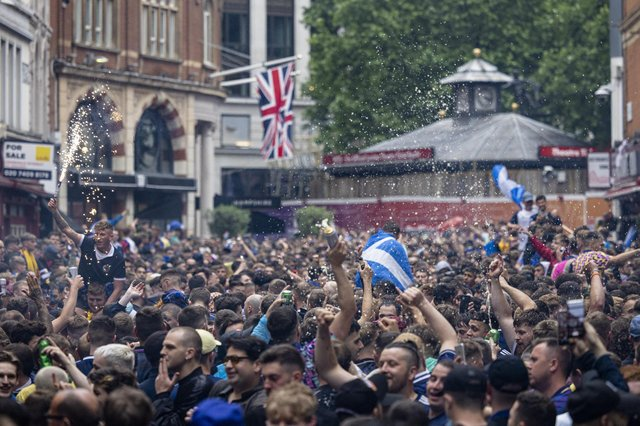 Thousands of Scotland fans gathered in London's Leicester Square ahead of the England vs Scotland game at Wembley stadium (Picture: Rob Pinney/Getty Images)