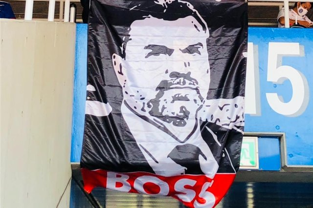 The image of Ange Postecoglou unveiled by Yokohama F. Marinos fans at the weekend.