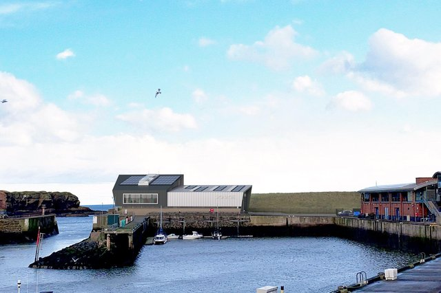 An image of how the operations and maintenance base at Eyemouth Harbour should look when completed.