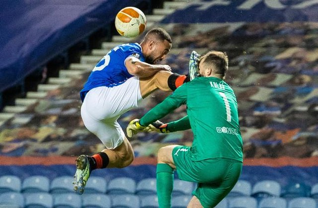 Kemar Roofe's challenge on Slavia Prague goalkeeper Ondrej Kolar which saw the Rangers forward sent off just six minutes after coming on as a substitute. (Photo by Alan Harvey / SNS Group)