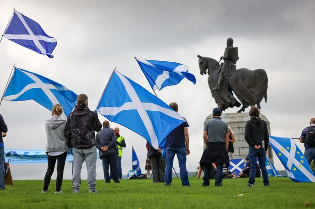Supporters of Scottish independence gather at the site of the battle of Bannockburn for an 'All Under One Banner' event. Picture: Jeff J Mitchell/Getty Images