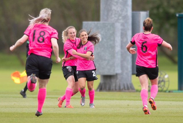 GLASGOW, SCOTLAND - MAY 09: Glasgow City players celebrate Priscilla Chinchilla's goal to make it 2-0 during a Scottish Women's Premier League match between Rangers and Glasgow City at the Rangers Training Centre, on May 09, 2021, in Glasgow, Scotland. (Photo by Mark Scates / SNS Group)