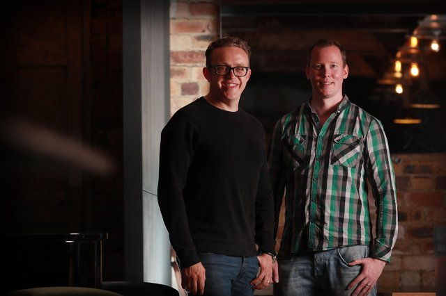 Zumo co-founders Nick Jones, left, and Paul Roach, right, have welcomed more than 25,000 users of the Zumo app since launching in June 2020. Picture: Stewart Attwood