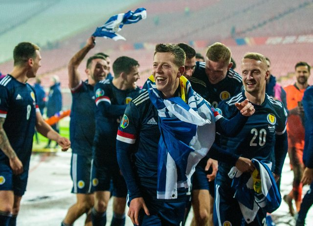 BELGRADE, SERBIA - NOVEMBER 12: Scotland's Callum McGregor and Leigh Griffiths (right) celebrate at full time during the UEFA Euro 2020 Qualifier between Serbia and Scotland at the Stadion Rajko Mitic on November 12, 2020, in Belgrade, Serbia. (Photo by Nikola Krstic / SNS Group)