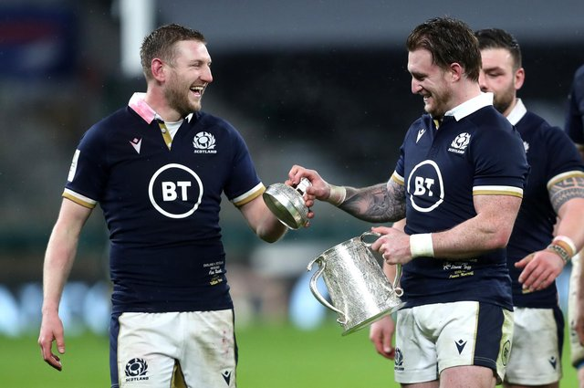 Finn Russell and Stuart Hogg are among eight Scots picked in Sir Ian McGeechan's Lions team of the week. Picture: David Davies/PA