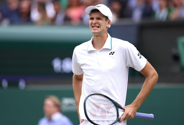 Hubert Hurkacz grimaces as the man who bagelled Roger Federer suffers the fate himself