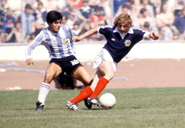 Diego Maradona scored his first goal for Argentina against Scotland. Picture: SNS