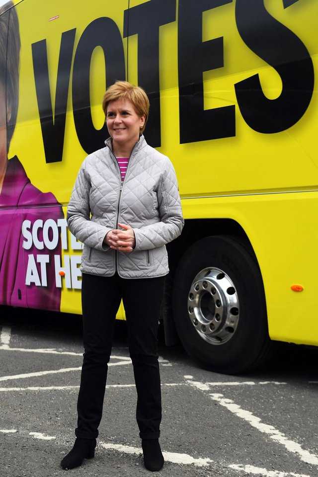First Minister and leader of the Scottish National Party Nicola Sturgeon campaigns in Glasgow yesterday