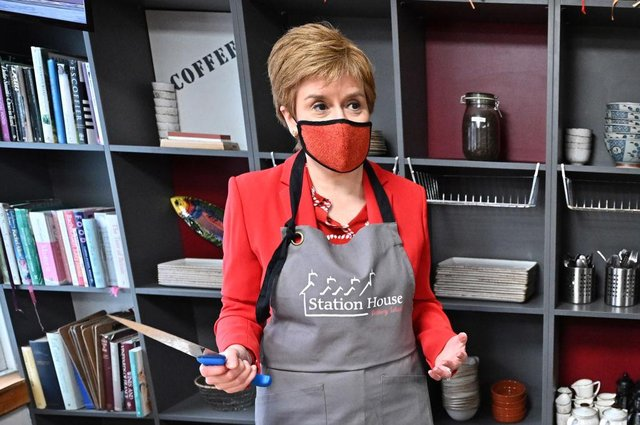 Nicola Sturgeon campaigns in the Station House Café Cookery School in Kirkcudbright. (Photo by Jeff J Mitchell-WPA Pool/Getty Images)
