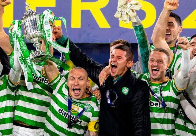 Celtic players celebrate their 2019-20 Scottish Cup success after the delayed final in December - now they have the chance to become the first team to claim the trophy twice inside the same campaign. (Photo by Craig Foy / SNS Group)