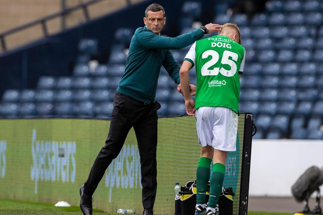 Hibs head coach Jack Ross (left) consoles Josh Doig after coming off with an injury in the Scottish Cup final. (Photo by Craig Williamson / SNS Group)