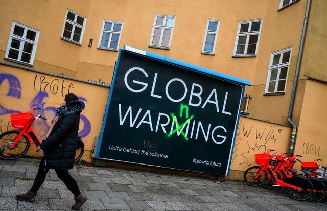 An example from Germany of advertising highlighting climate change. Picture: John Macdougall/AFP via Getty Images.