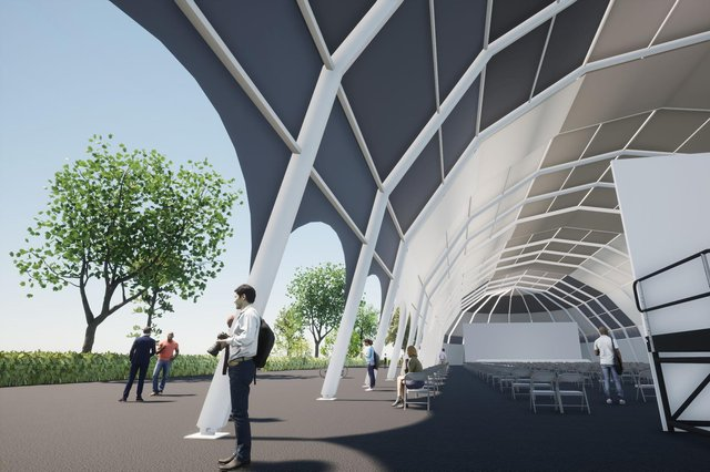 An image of what the EIF's new Edinburgh Park pop-up pavilion will look like.