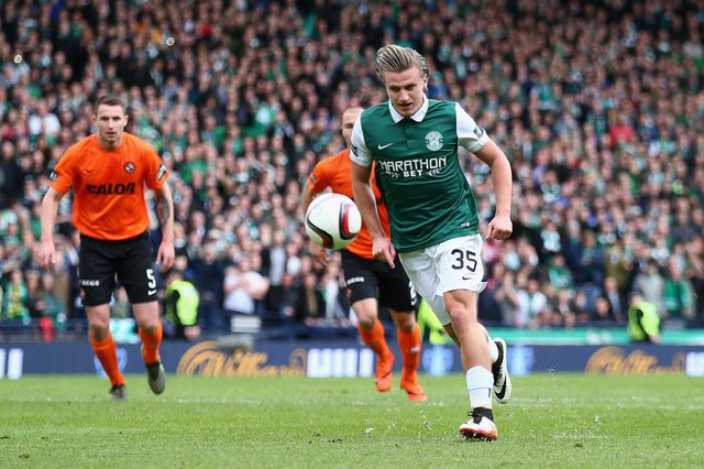 Jason Cummings missed with this Panenka but still backed himself to score the winning penalty to take Hibs to the 2016 Scottish Cup final.