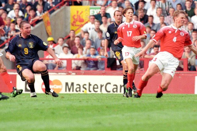 Ally McCoist fires in the only goal of the game. Picture: SNS