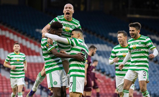 Celtic captain Scott Brown leads the celebrations after Odsonne Edouard's penalty strike  makes it 2-0 in the club's quadruple treble-securing Scottish Cup final triumph over Hearts. (Photo by Craig Williamson / SNS Group)