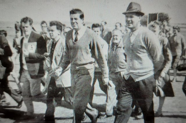 Alan Macgregor, left, and Kel Nagle playing in the PGA Carling Tournament at Longniddry in 1961. Picture: JPI Media