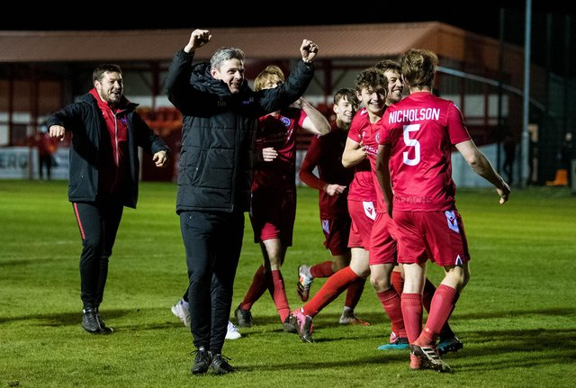 Brora Rangers celebrating their victory over Hearts in the Scottish Cup last week. Picture: SNS