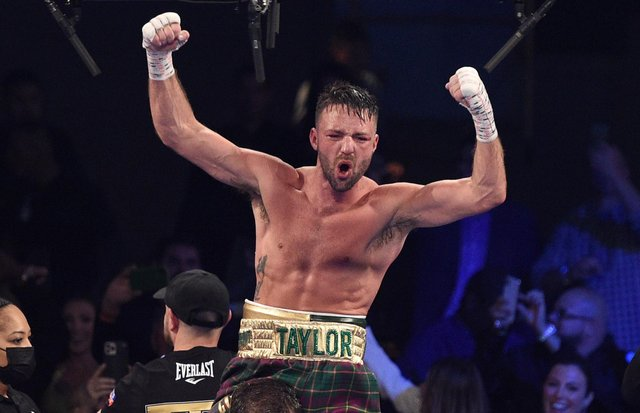 Josh Taylor reacts after his win by unanimous decision over Jose Ramirez