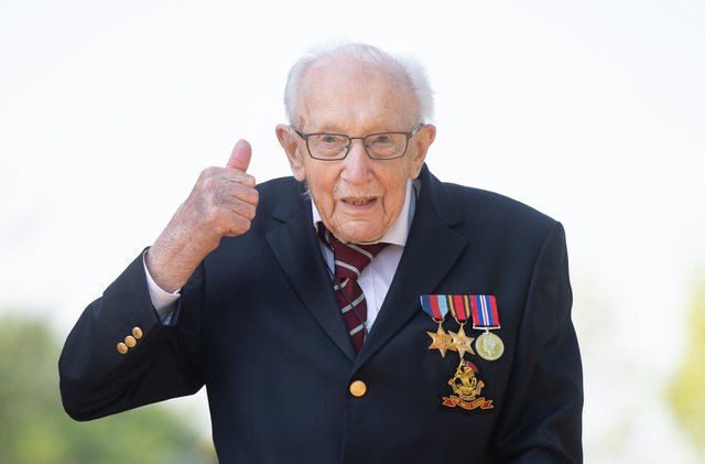 Second World War army captain Tom Moore won the hearts of the nation after setting out to raise £1,000 by walking 100 laps of his garden by his 100th birthday in April