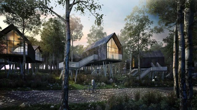 An artist's impression of the health and wellbeing retreat planned for a disused colliery near Auchinleck, East Ayrshire. PIC: Contributed