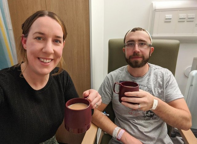 Hayley and Matthew Smith in hospital after Mr Smith's first operation.