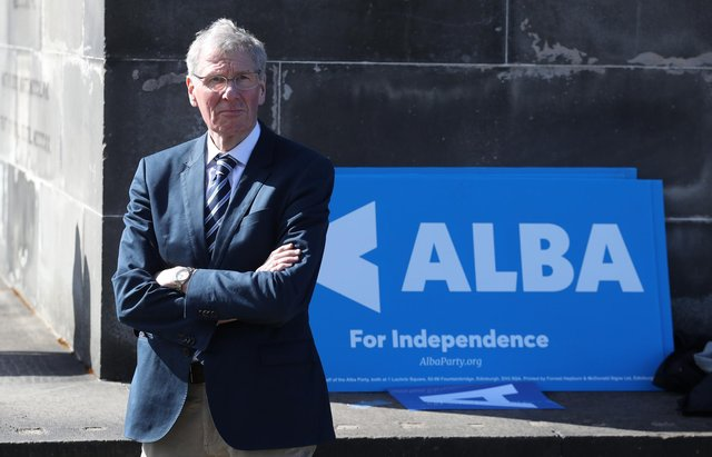 Alba Party MP, Kenny MacAskill, at a photocall on Calton Hill, Edinburgh, during the Holyrood election campaign.