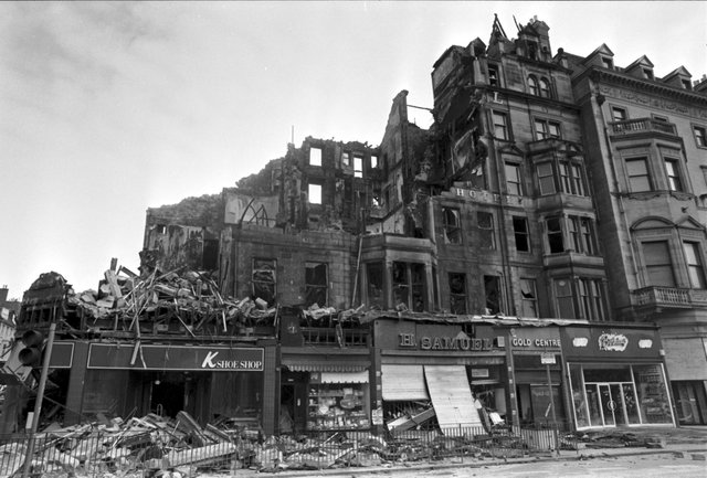 The Palace Hotel, at the corner of Princes Street and Castle Street in Edinburgh was demolished after a fire in June 1991,