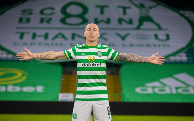 Scott Brown stands alone on the Celtic Park pitch  after his final home game for club that came on Wedneday with the 4-0 win over St Johnstone. (Photo by Craig Williamson / SNS Group)