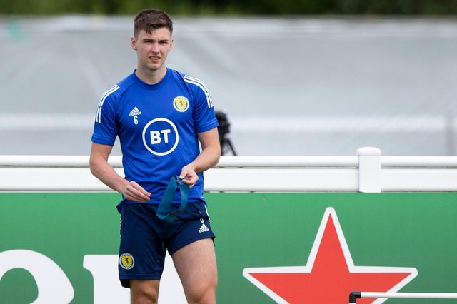 Kieran Tierney during a Scotland training session at Rockliffe Park. (Photo by Craig Williamson / SNS Group)