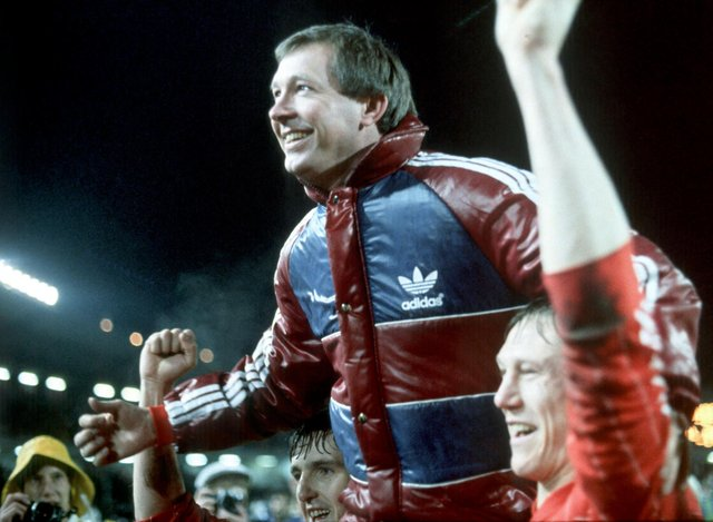 "Fergie celebrating the glory of Gothenburg with Doug Rougvie who described the manager thus: ""One minute a genius, the next a bully ... he was a genius-bully!"""