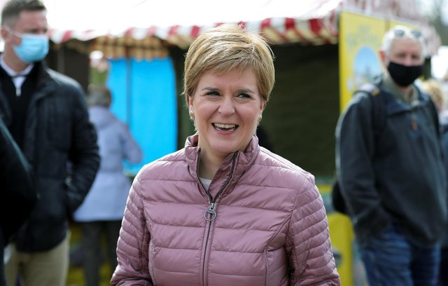 Scottish First Minister and leader of the Scottish National Party (SNP) Nicola Sturgeon at Perth Farmer's Market in Perth during campaigning for the Scottish Parliamentary election.