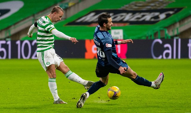 Leigh Griffiths fires Celtic into a first-half lead against Hamilton Accies. Picture: SNS
