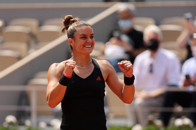Maria Sakkari of Greece celebrates her surprise victory over defending champion Iga Swiatek in the French Open quarter-finals. Picture: Clive Brunskill/Getty Images