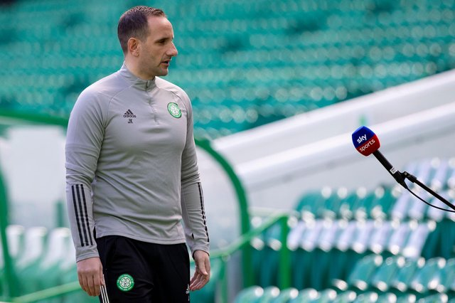 Celtic interim manager John Kennedy speaks to Sky before the Scottish Premiership match against Rangers at Celtic Park (Photo by Craig Williamson / SNS Group)