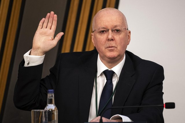 Peter Murrell, chief executive of the Scottish National Party arrives gave evidence to a Scottish Parliament Harassment committee today