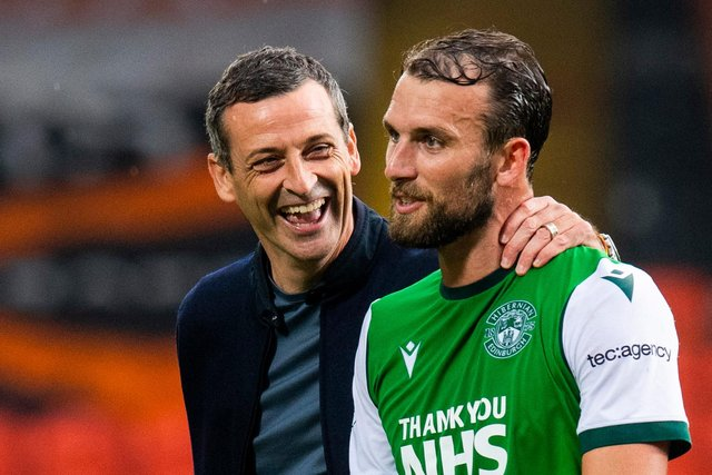 Hibs manager Jack Ross remained happy with Christian Doidge's all-round contribution despite the striker's goal drought. Photo by Ross Parker / SNS Group