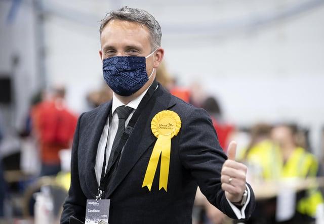 Liberal Democrat candidate Alex Cole Hamilton at the count in Ingliston Highland Centre, Edinburgh.