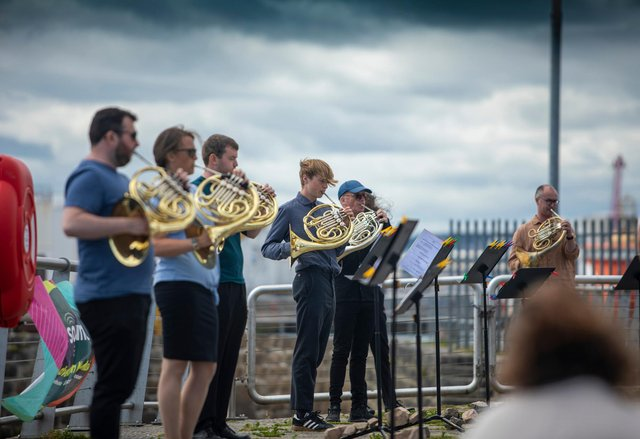 Call, by Pete Stollery, was performed by the harbour and incorporated ships' horns PIC: Colin Black